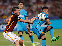 Calcio, Champions League, Gruppo E: Roma vs Barcellona. Roma, stadio Olimpico, 16 settembre 2015.<br /> FC Barcelona&rsquo;s Neymar, right, is challenged by Roma&rsquo;s Alessandro Florenzi during a Champions League, Group E football match between Roma and FC Barcelona, at Rome's Olympic stadium, 16 September 2015.<br /> UPDATE IMAGES PRESS/Isabella Bonotto