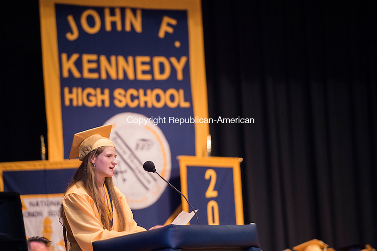 WATERBURY, CT-19 June 2015-061915EC11-  Valedictorian Mackenna Jacovich delivers her speech at Kennedy's High School graduation Friday night. Erin Covey Republican-American