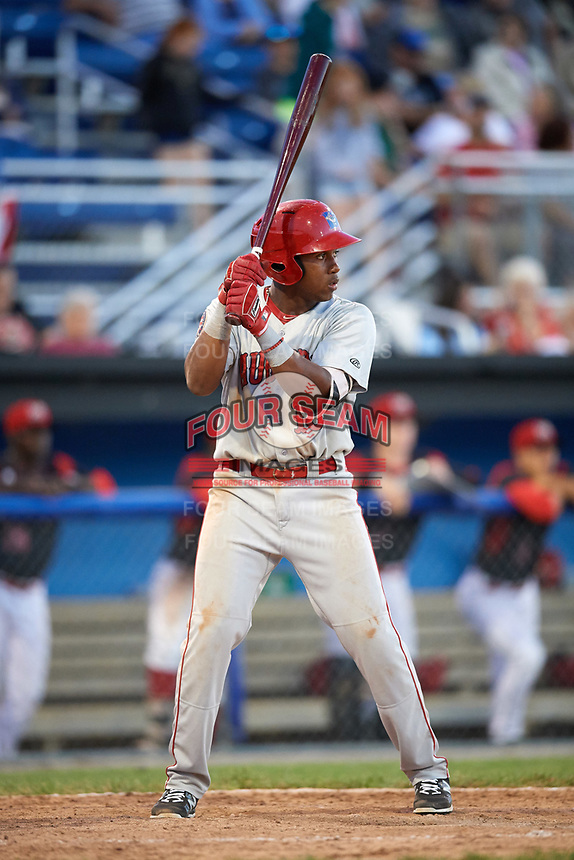 Auburn Doubledays third baseman Omar Meregildo (18) at bat during a game against the Batavia Muckdogs on June 19, 2017 at Dwyer Stadium in Batavia, New York.  Batavia defeated Auburn 8-2 in both teams opening game of the season.  (Mike Janes/Four Seam Images)