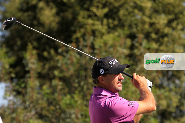 Darren Fichardt (RSA) on the 6th tee during Round 2 of the Open de Espana  in Club de Golf el Prat, Barcelona on Friday 15th May 2015.<br /> Picture:  Thos Caffrey / www.golffile.ie