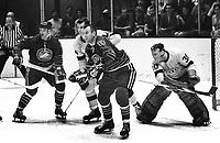 Seals vs Los Angeles Kings: Seals Billy Harris and Gerry Ehrman Kings, Larry Cahan and goalie Wayne Rutledge. (1969 photo/Ron Riesterer)
