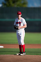 Orem Owlz starting pitcher John Swanda (5) gets ready to deliver a pitch during a Pioneer League game against the Ogden Raptors at Home of the OWLZ on August 24, 2018 in Orem, Utah. The Ogden Raptors defeated the Orem Owlz by a score of 13-5. (Zachary Lucy/Four Seam Images)