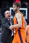 Valencia Basket coach Txus Vidorreta and Aaron Doornekamp during Turkish Airlines Euroleague match between Real Madrid and Valencia Basket at Wizink Center in Madrid, Spain. December 19, 2017. (ALTERPHOTOS/Borja B.Hojas)