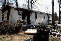 1982 March 01..Redevelopment...Middle Towne Arch..Exterior typical unit w/ fire damage...NEG#.NRHA#..REDEV:Lib Pk1  7:5
