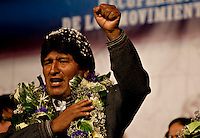 La Paz, Bolivia<br /> A picture dated November 26, 2009 shows Bolivian President and presidential candidate Evo Morales during a campaign event in the City of La Paz.  Morales is running for re-election for the MAS (Movement Towards Socialism) party, and has more than 50% support of the population.