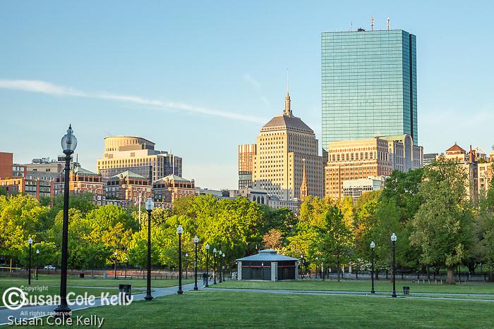 Sunrise view of the Back Bay skyline from  Boston Common, Boston, Massachusetts, USA