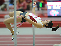 NWA Democrat-Gazette/ANDY SHUPE<br /> Arkansas senior Leigha Brown competes in the high jump invitational Saturday, Feb. 11, 2017, during the Tyson Invitational in the Randal Tyson Track Center in Fayetteville. Visit nwadg.com/photos to see more photographs from the meet.