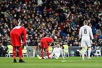Sergio Ramos, centre, of Real Madrid during La Liga match between Real Madrid and Sevilla at Santiago Bernabeu Stadium in Madrid, Spain. February 04, 2015. (ALTERPHOTOS/Caro Marin) /NORTEphoto.com