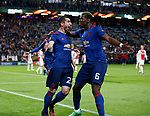 Henrikh Mkhitaryan of Manchester United celebrates scoring the second goal with Paul Pogba of Manchester United during the UEFA Europa League Final match at the Friends Arena, Stockholm. Picture date: May 24th, 2017.Picture credit should read: Matt McNulty/Sportimage