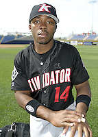 April 18, 2004:  Antoin Gray of the Kannapolis Intimidators, Low-A South Atlantic League affiliate of the Chicago White Sox, during a game at Classic Park in Eastlake, OH.  Photo by:  Mike Janes/Four Seam Images