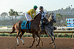 DEL MAR, CA  SEPTEMBER 1: #9 Vasilika, ridden by Flavien Prat, in the post parade before the John C. Mabee Stakes (Grade ll), on September 1, 2018 at Del Mar Thoroughbred Club in Del Mar, CA.(Photo by Casey Phillips/Eclipse Sportswire/Getty ImagesGetty Images