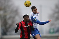 Matt Johnson of Enfield and Olumide of Lewes during Enfield Town vs Lewes, Bostik League Premier Division Football at the Queen Elizabeth II Stadium on 5th January 2019