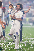 Real Madrid Marcelo with his son during the celebration of the 12th UEFA Championship won by Real Madrid  at Santiago Bernabeu Stadium in Madrid, June 04, 2017. Spain.<br /> Foto ALTERPHOTOS/BorjaB.Hojas/Insidefoto