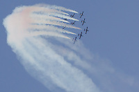 International Air Show at the Hungarian Air Force base in Kecskemet (about 87 km South-East of the capital city Budapest), Hungary on August 03, 2013. ATTILA VOLGYIMB-339 aircrafts of the Frecce Tricolori squadron from the Italian Airforce perform during the