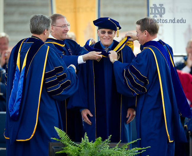May 22, 2011; Chuck Lennon receives an honorary degree at the 2011 Commencement ceremony...Photo by Matt Cashore/University of Notre Dame