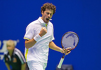 Rotterdam, Netherlands, December 20, 2015,  Topsport Centrum, Lotto NK Tennis, Final mens single Robin Haase (NED) colebrates his win.<br /> Photo: Tennisimages/Henk Koster