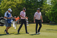 Ian Poulter (GBR) and Graeme McDowell (NIR) head down 1 during Round 4 of the Zurich Classic of New Orl, TPC Louisiana, Avondale, Louisiana, USA. 4/29/2018.<br /> Picture: Golffile | Ken Murray<br /> <br /> <br /> All photo usage must carry mandatory copyright credit (&copy; Golffile | Ken Murray)