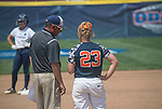 30 MAY 2016: University of Texas-Tyler Head Coach, Mike Reed talks with pitcher, Alaina Kissinger (23) during the Division III Women's Softball Championship is held at the James I Moyer Sports Complex in Salem, VA.  University of Texas-Tyler defeated Messiah College 7-0 for the national title. Don Petersen/NCAA Photos