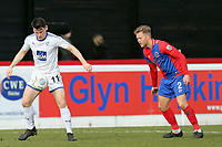 Ben Nunn of Dagenham and Connor Jennings of Tranmere Rovers during Dagenham & Redbridge vs Tranmere Rovers, Vanarama National League Football at the Chigwell Construction Stadium on 10th March 2018