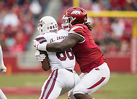 Hawgs Illustrated/BEN GOFF <br /> McTelvin Agim, Arkansas defensive end, tackles Jesse Jackson, Mississippi State wide receiver, in the first quarter State Saturday, Nov. 18, 2017, at Reynolds Razorback Stadium in Fayetteville.