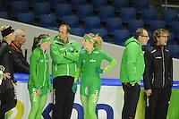 SCHAATSEN: HEERENVEEN: IJsstadion Thialf, 08-11-2012, training Thialf, Pim Schipper, Laurine van Riessen, Sicco Janmaat (assitstent trainer), Annette Gerritsen, Jac Orie (trainer), Bjarne Rykkje (assitent trainer), ©foto Martin de Jong