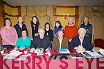 AGM: On Sunday Comhaltas Ceoltai Eireann held their AGM in The meadowlands Hotel, Tralee on Sunday the top table. Front l-r: marian Hussey (Treasurer), John Canty (Ass Chairman), Tony O'Connor (Chairman) and Tadhg Creedan (secretary), back l-r: katie O'Sullivan, John Moriarty (PRO), Daneille O'Riordan (Irish Offr), Sheila Cantillon, Ann Granville, Michael Granville and Eoin Carra.