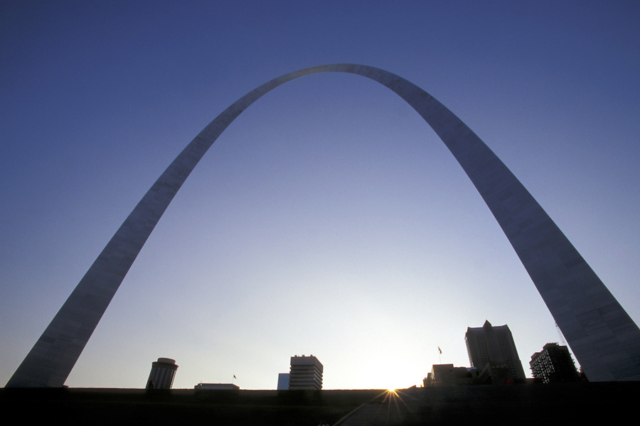 The Gateway Arch arcs over downtown Saint Louis at sunset, Jefferson National Expansion Memorial, Saint Louis, Missouri