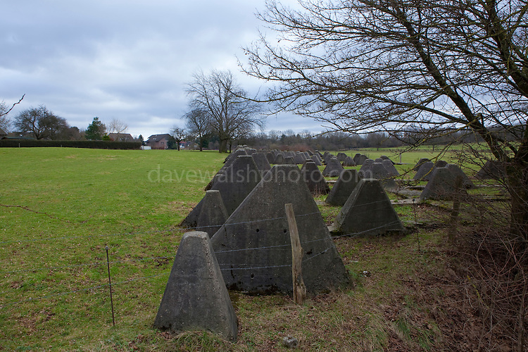 Concret Dragons Teeth, or Drachenzähne, remains of the World War 2 German Siegfriend Line, near the village of Schmithof, Aaachen, Germany