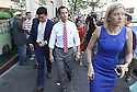 Anthony Weiner departs from the Nah Shan Senior Center on Monday, July 29, 2013 in Staten Island, New York. (AP Photo/ Donald Traill)