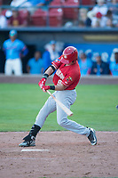 Vancouver Canadians right fielder Griffin Conine (9) swings at a pitch during a Northwest League game against the Spokane Indians at Avista Stadium on September 2, 2018 in Spokane, Washington. The Spokane Indians defeated the Vancouver Canadians by a score of 3-1. (Zachary Lucy/Four Seam Images)