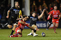 Hugo Bonneval of RC Toulon and Chris Cook of Bath Rugby compete for the ball. European Rugby Champions Cup match, between Bath Rugby and RC Toulon on December 16, 2017 at the Recreation Ground in Bath, England. Photo by: Patrick Khachfe / Onside Images
