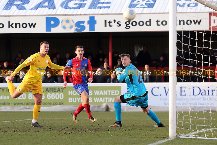 Andy Halls of Chester scores an own goal for the Daggers third goal during Dagenham & Redbridge vs Chester, Vanarama National League Football at the Chigwell Construction Stadium on 24th February 2018