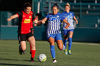 Rochester, NY - Friday June 24, 2016: Boston Breakers forward Kyah Simon (17), Western New York Flash defender Elizabeth Eddy (4) during a regular season National Women's Soccer League (NWSL) match between the Western New York Flash and the Boston Breakers at Rochester Rhinos Stadium.