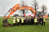 Secondary school pupils and teachers turn the first sod at the site of the new Newark Academy being built by Kier Construction