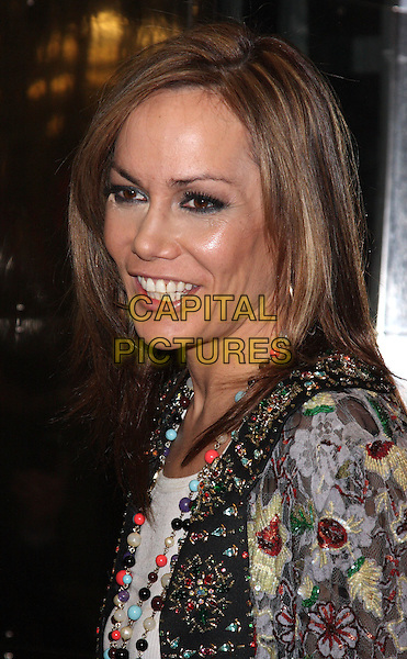 TARA PALMER TOMKINSON.Gala Performance of 'Legally Blonde' at the Savoy Theatre, The Strand, London, England..January 13th, 2010.headshot portrait black beads beaded trophy flowers yellow grey gray necklace floral patterned pattern tpt.CAP/ROS.©Steve Ross/Capital Pictures.