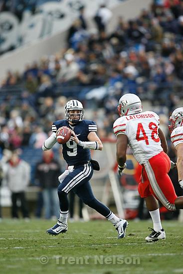 Trent Nelson  |  The Salt Lake Tribune.BYU quarterback Jake Heaps (9) during the first half,  BYU vs. New Mexico, Saturday, November 20, 2010.