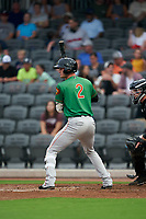 Down East Wood Ducks Josh Altmann (2) at bat during a Carolina League game against the Fayetteville Woodpeckers on August 13, 2019 at SEGRA Stadium in Fayetteville, North Carolina.  Fayetteville defeated Down East 5-3.  (Mike Janes/Four Seam Images)