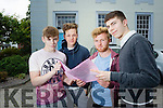 Daniel Ó Murchú, Jack Ó Hiarlaitha, Cathal Ó Curráin and Joshua Ó Shea, students attending Gaelcholáiste Charraí, who sat the Leaving Certificate English Paper 1 on Wednesday morning.
