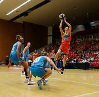 29th November 2019; Bendat Basketball Centre, Perth, Western Australia, Australia; Womens National Basketball League Australia, Perth Lynx versus Southside Flyers; Katie Ebzery of the Perth Lynx takes a jump shot over Kiera Rowe of the Southside Flyers - Editorial Use