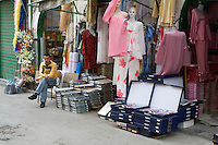 Tripoli, Libya - Street Scene in the Medina (Old City); Women's Clothing for Sale.