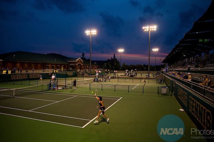 19 MAY 2015:  Vanderbilt's Marie Casares hits a forehand during her match with UCLA's Kyle McPhillips at The Division I Women's Tennis Championship, held at the Hurd Tennis Center on the Baylor University campus in Waco, TX.  Vanderbilt defeated UCLA 4-2 to win the team national title.  Darren Carroll/NCAA Photos