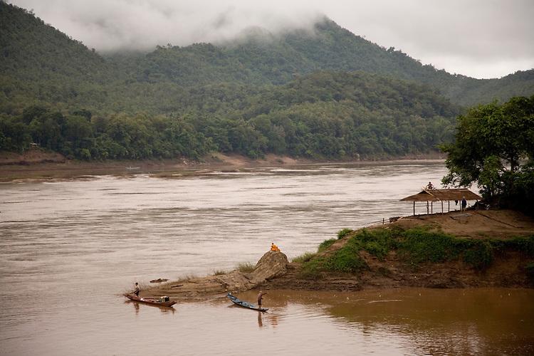 Daily life on the Mekong River at Luang Prabang,Laos