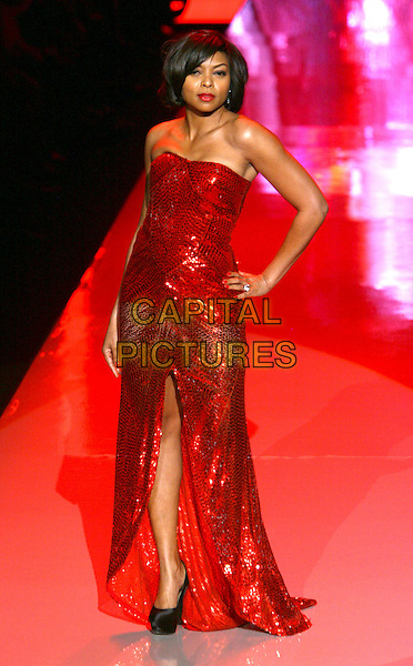 TARAJI P. HENSON .The Heart Truth Fall 2011 fashion show during Mercedes-Benz Fashion Week at The Theatre at Lincoln Center on New York City, New York, NY, USA,.9th February 2011..catwalk runway model modeling full length red dress strapless long maxi hand on hip slit split sequined sequin  .CAP/ADM/PZ.©Paul Zimmerman/AdMedia/Capital Pictures.