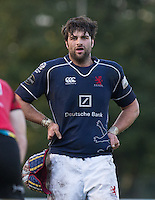 Chevvy Pennycook of London Scottish on the final whistle during the Greene King IPA Championship match between London Scottish Football Club and Jersey at Richmond Athletic Ground, Richmond, United Kingdom on 7 November 2015. Photo by Andy Rowland.