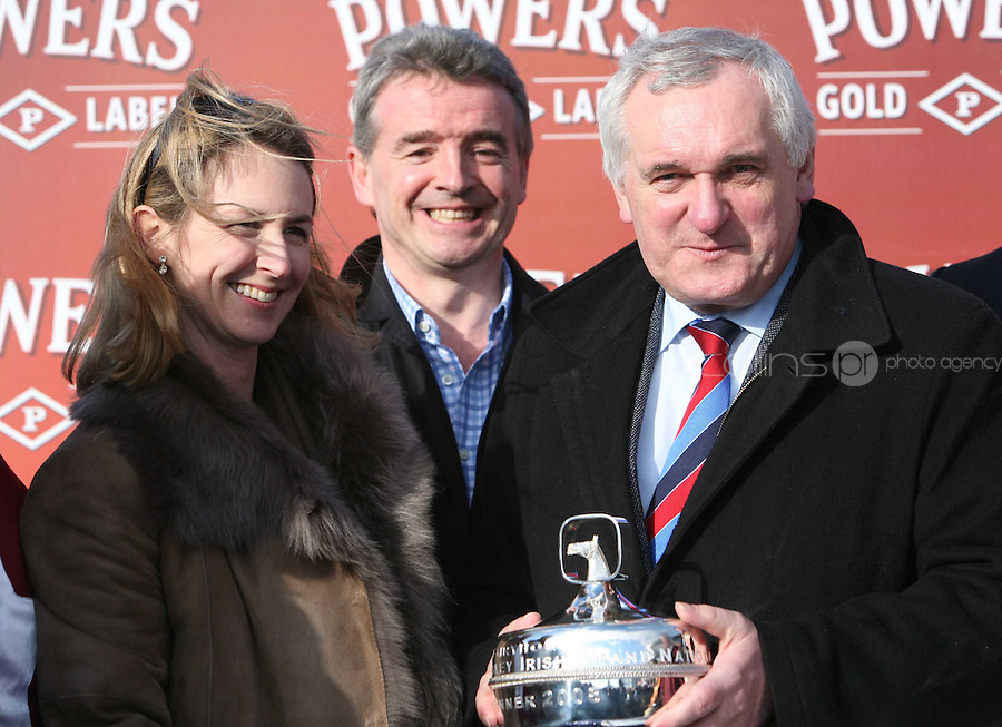 24/03/2008.(L TO R) .Anita O' Leary Owner of hear the Echo  , Michael O'Leary & An Taoiseach Bertie Ahern  after Hear The Echo won the Powers Whiskey Irish Grand National   at the Fairyhouse easter racing festival at Fairyhouse, Co. Meath..Photo: Gareth Chaney Collins