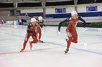 SCHAATSEN: CALGARY: Olympic Oval, 09-11-2013, Essent ISU World Cup, Longjiang Sun, Guojun Tian, Yiming Liu (CHN), ©foto Martin de Jong