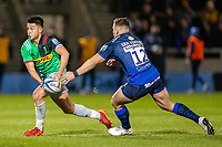 3rd January 2020; AJ Bell Stadium, Salford, Lancashire, England; English Premiership Rugby, Sale Sharks versus Harlequins; Marcus Smith of Harlequins avoids a tackled by Rohan Janse van Rensburg of Sale Sharks - Editorial Use