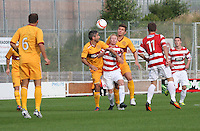 Ali Crawford sandwiched between Keith Lasley (left) and Shaun Hutchinson in the Hamilton Academical v Motherwell friendly match played at New Douglas Park, Hamilton on 24.7.12..