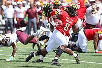 College Park, MD - September 22, 2018:  Maryland Terrapins running back Tayon Fleet-Davis (8) runs the ball during the game between Minnesota and Maryland at  Capital One Field at Maryland Stadium in College Park, MD.  (Photo by Elliott Brown/Media Images International)