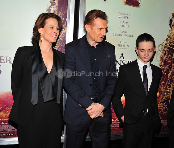 New York, NY: December 7: Sigourney Weaver, Liam Neeson, Lewis MacDougall attends 'A Monster Calls' New York Premiere at AMC Loews Lincoln Square 13 theater on December 7, 2016 in New York City.@John Palmer / Media Punch